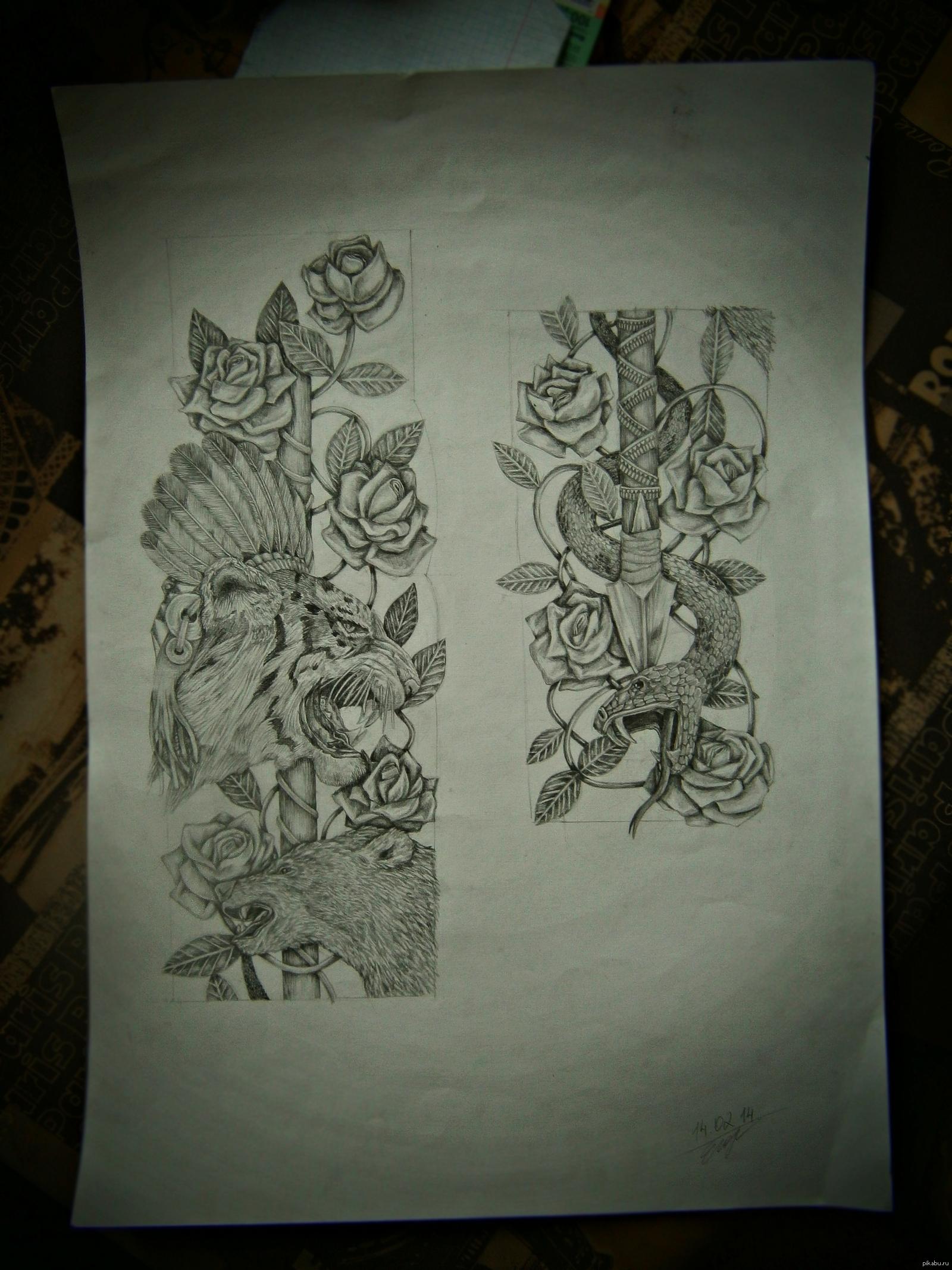рисунки рукавов тату